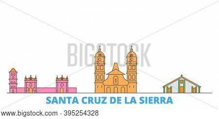Bolivia, Santa Cruz De La Sierra Line Cityscape, Flat Vector. Travel City Landmark, Oultine Illustra