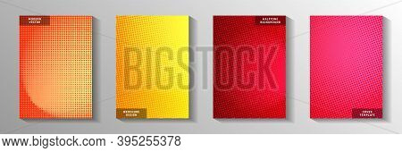 Creative Dot Perforated Halftone Title Page Templates Vector Collection. Geometric Poster Faded Half