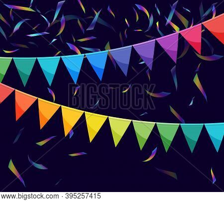 Bright Paper Bunting Party Flags Background. Carnival Garland With Flags. Decorative Party Pennants