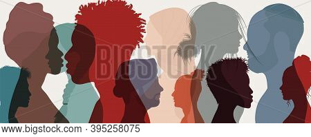 Group Diversity People To The Side. Attractive Good-looking Multicultural Multi-ethnic Men Women And
