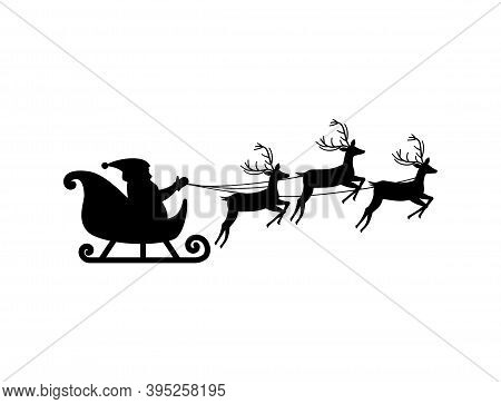 Silhouette Of Santa Claus On Sledge With Deer, Isolated On White Background, Vector Illustration