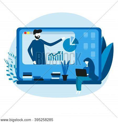 Modern Online Education, Home Schooling. Workplace, Man Teacher On Laptop Screen, Woman Watching Onl