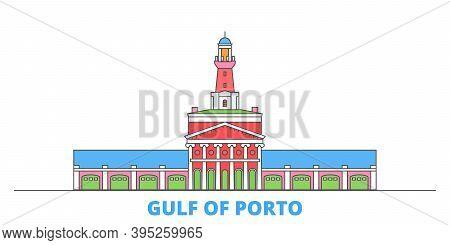 France, Corsica, Gulf Of Porto Line Cityscape, Flat Vector. Travel City Landmark, Oultine Illustrati