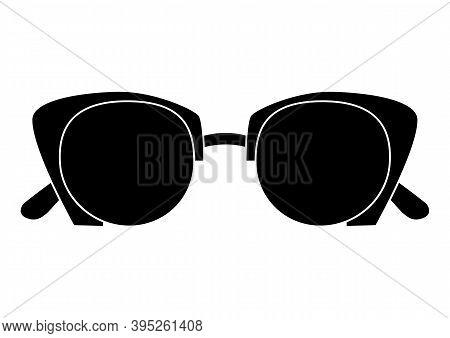 Black Glasses. Flat Shades Symbol On White Background. Modern Style Glasses Rim Silhouette. Stylish