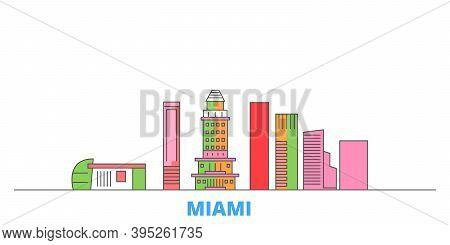 United States, Miami City Line Cityscape, Flat Vector. Travel City Landmark, Oultine Illustration, L