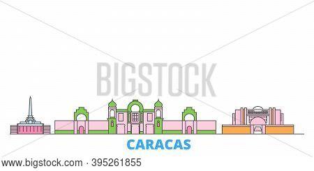 Venezuela , Caracas Line Cityscape, Flat Vector. Travel City Landmark, Oultine Illustration, Line Wo