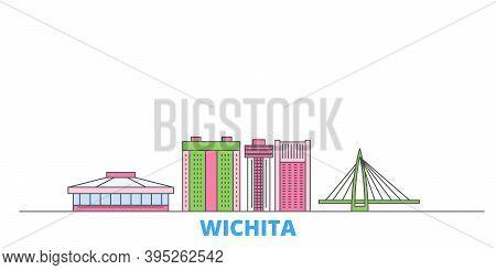 United States, Wichita Line Cityscape, Flat Vector. Travel City Landmark, Oultine Illustration, Line