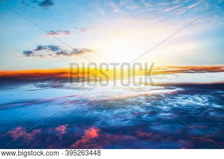 Background Sky At Sunset And Dawn . Paradise Heaven . Dramatic Nature Background . Journey Of The So