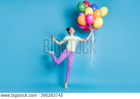 Full Length Body Size Photo Of Girl Keeping Pile Of Colorful Air Balloons Smiling Standing Tiptoes I