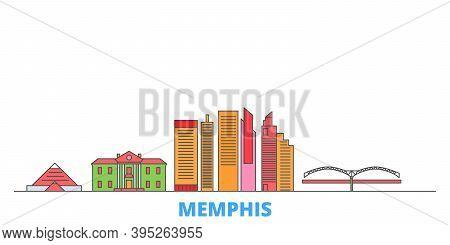 United States, Memphis Line Cityscape, Flat Vector. Travel City Landmark, Oultine Illustration, Line