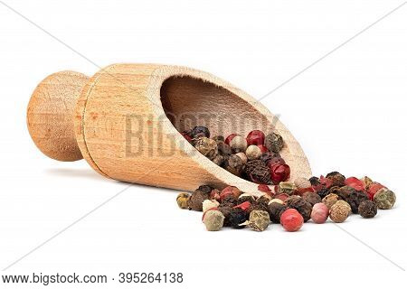 Peppercorn Mixed Colors, Close Up Of Ingredient With Wooden Showel On White Background