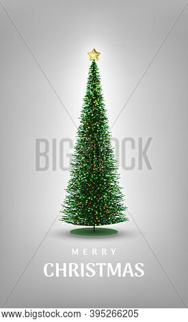 Merry Christmas. Cute Minimalistic Christmas Card With Christmas Tree Figurine With Sparkling Colore