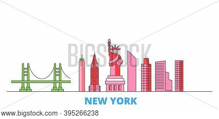 United States, New York Line Cityscape, Flat Vector. Travel City Landmark, Oultine Illustration, Lin