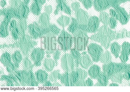 Watercolor Blots. Green Or Neo Mint Color. Abstract Rough Aquarel Effect. Boho Mud Art Pattern. Care