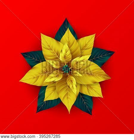 Stylized Gold Poinsettia Flower. Poinsettia Plant With Golden And Green Leaf For Xmas Winter Holiday