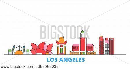 United States, Los Angeles Line Cityscape, Flat Vector. Travel City Landmark, Oultine Illustration,