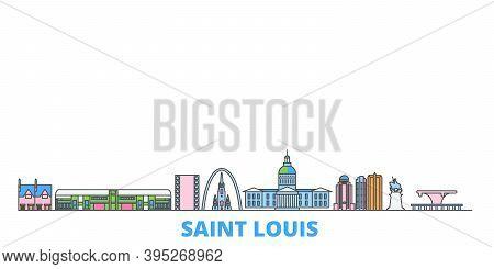 United States, Saint Louis Line Cityscape, Flat Vector. Travel City Landmark, Oultine Illustration,