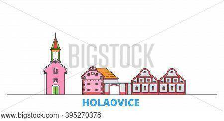 Czech Republic, Holasovice Line Cityscape, Flat Vector. Travel City Landmark, Oultine Illustration,