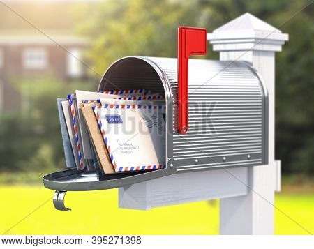 Open mailbox with letters on rural backgound. 3d illustration