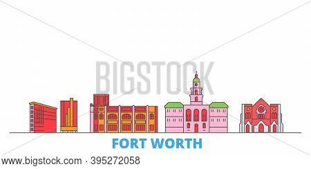 United States, Fort Worth Line Cityscape, Flat Vector. Travel City Landmark, Oultine Illustration, L