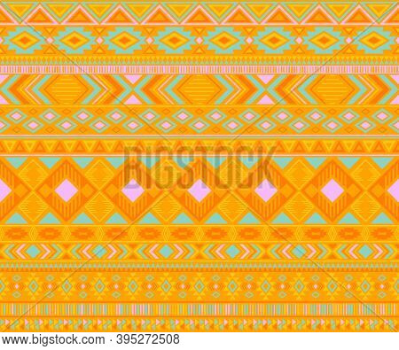 Peruvian American Indian Pattern Tribal Ethnic Motifs Geometric Seamless Background. Modern Native A