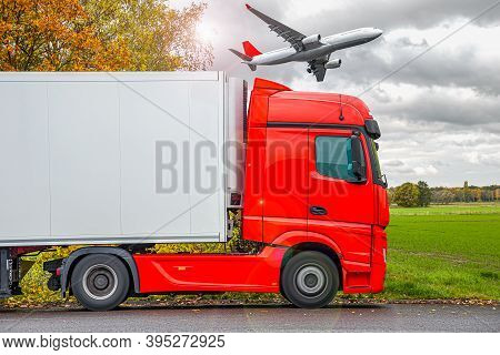 The Plane Flies Over The Truck  .  Logistics And Transportation