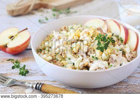 Tuna Salad With Egg And Cucumber, Greek Yoghurt And Paprika Sauce. Focus Selective