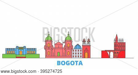 Colombia, Bogota Line Cityscape, Flat Vector. Travel City Landmark, Oultine Illustration, Line World