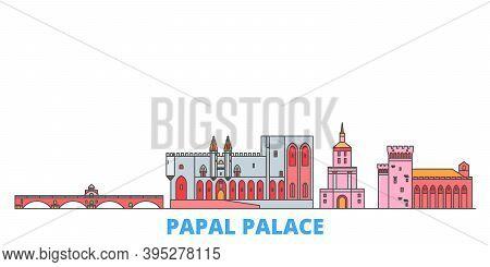France, Papal Palace, Episcopal Ensemble Avignon Bridge Line Cityscape, Flat Vector. Travel City Lan