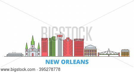United States, New Orleans Line Cityscape, Flat Vector. Travel City Landmark, Oultine Illustration,