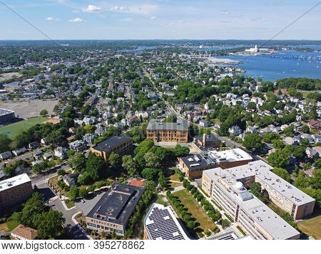 Aerial View Of Salem State University Campus And Edward Sullivan Building In City Of Salem, Massachu