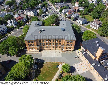 Aerial View Of Edward Sullivan Building In Salem State University In City Of Salem, Massachusetts Ma