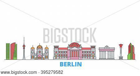 Germany, Berlin Line Cityscape, Flat Vector. Travel City Landmark, Oultine Illustration, Line World
