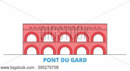 France, Pont Du Gard Landmark Line Cityscape, Flat Vector. Travel City Landmark, Oultine Illustratio