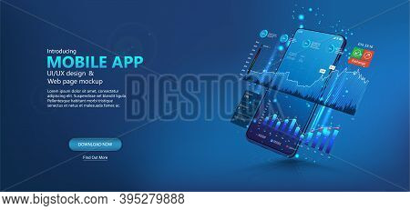 Template Web Page - Online Statistic, Data Analytics And Finance And Trading Mobile App. Smartphone