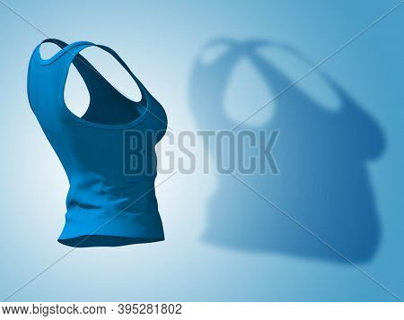 Conceptual fat overweight obese shadow female undershirt vs slim fit healthy body after weight loss or diet thin young woman on blue. A fitness, nutrition or obesity health shape 3D illustration