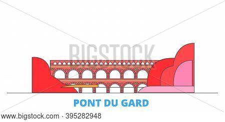 France, Pont Du Gard Line Cityscape, Flat Vector. Travel City Landmark, Oultine Illustration, Line W