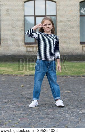 Fresh Funky Beauty. Little Child Show Peace Hand Sign Outdoors. Wearing Casual Style. Fashion Girl S