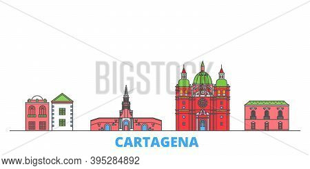 Colombia, Cartagena Line Cityscape, Flat Vector. Travel City Landmark, Oultine Illustration, Line Wo