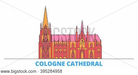 Germany, Cologne Cathedral Line Cityscape, Flat Vector. Travel City Landmark, Oultine Illustration,