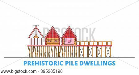 France, Prehistoric Pile Dwellings Around The Alps Landmark Line Cityscape, Flat Vector. Travel City