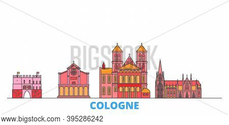 Germany, Cologne Line Cityscape, Flat Vector. Travel City Landmark, Oultine Illustration, Line World