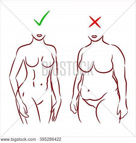 Fat And Slim Woman. Female Body Silhouette Before And After The Diet,   Losing Weight. Female Body L