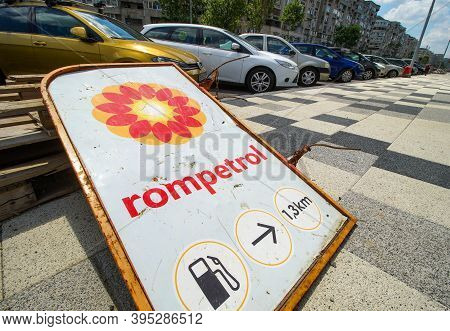 Bucharest, Romania - July 06, 2020: A Broken Rompetrol Gas Station Sign Is Seen In Bucharest This Im