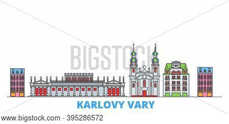 Czech Republic, Karlovy Vary Line Cityscape, Flat Vector. Travel City Landmark, Oultine Illustration