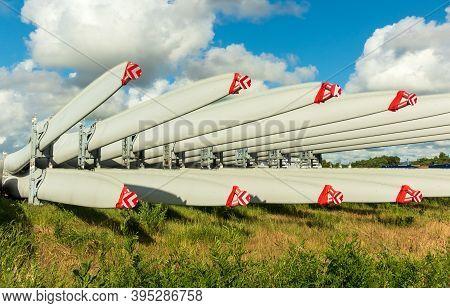 Rack Of New Large Wind Turbine Blades.