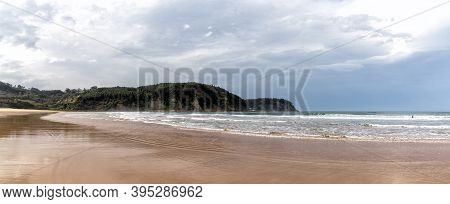 A Panorama View Of Beautiful Rodiles Beach In Asturias In Northern Spain