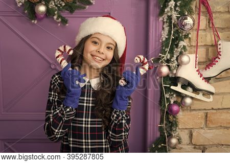 Child Hold Christmas Candy Cane. Striped Candy Cane Traditional Winter Holidays. Elegant Happy Kid I