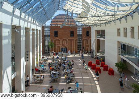 Salem, Ma, Usa - Jul. 19, 2019: Peabody Essex Museum Pem Central Atrium At 161 Essex Street In Histo