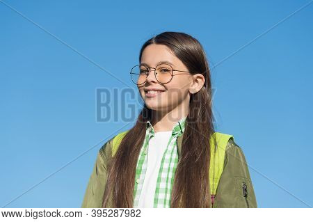 Accessorize And Protect Your Eye Sight. Happy Child Wear Eyeglasses Blue Sky. Eye Sight Development.